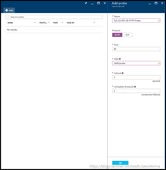 Azure AD FS Load Balancer - Add Probes