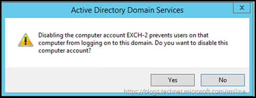 Confirmation To Disable Exchange Server Computer Object