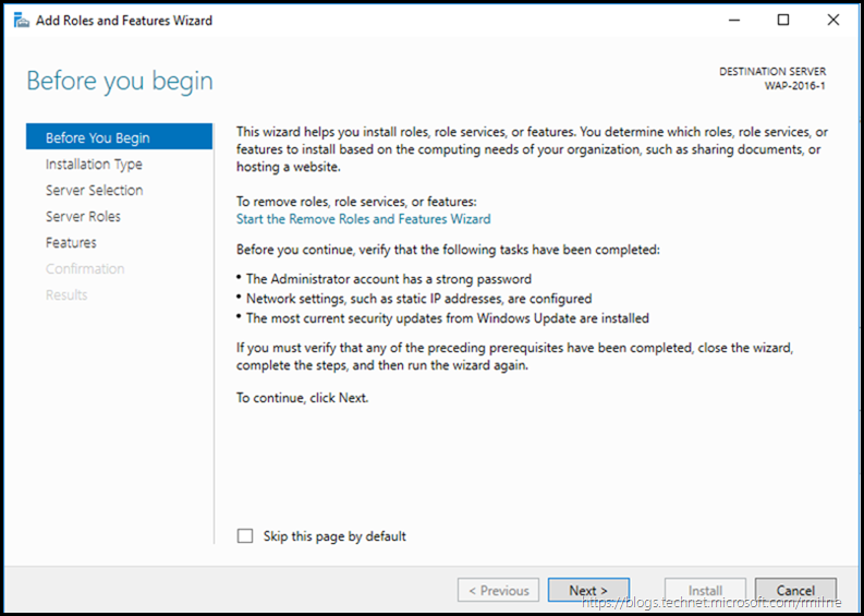 Windows Server 2016 Add Roles and Features Wizard