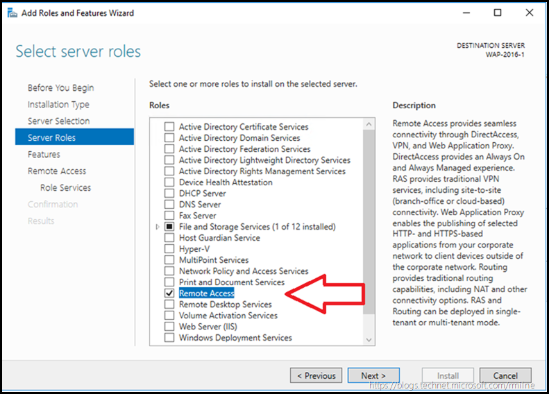 Windows Server 2016 Add Roles and Features Wizard - Select Remote Access Role