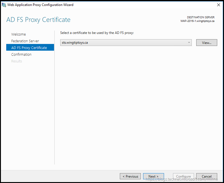 WAP Configuration Wizard - Select AD FS Certificate