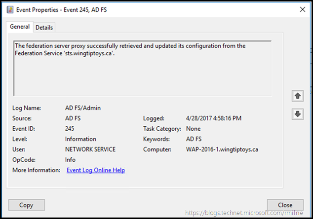 EventID 245 - AD FS Proxy Able To Retrieve Configuration From AD FS