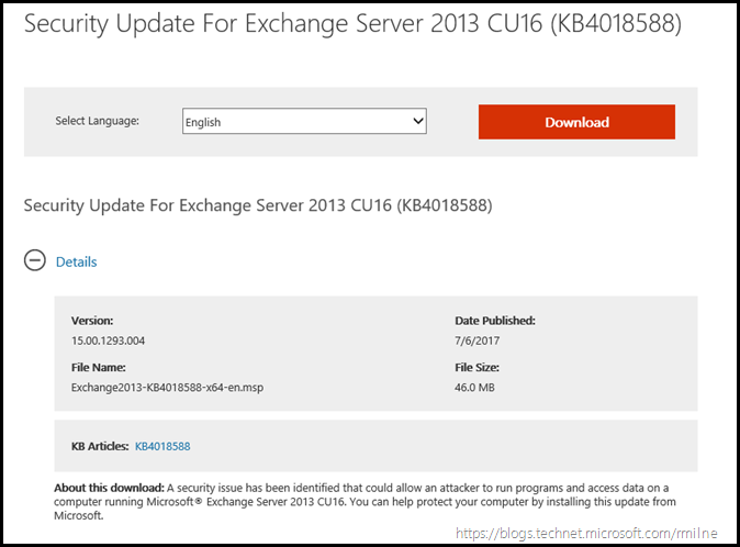 Security Update for Exchange 2013 CU16