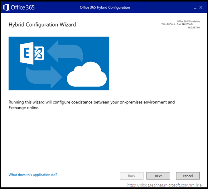 Running Office 365 Hybrid Configuration Wizard - Launch