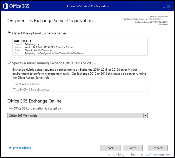 Running Office 365 Hybrid Configuration Wizard - Connect To On-Premises Server