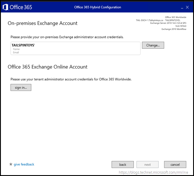 Running Office 365 Hybrid Configuration Wizard - Provide Credentials