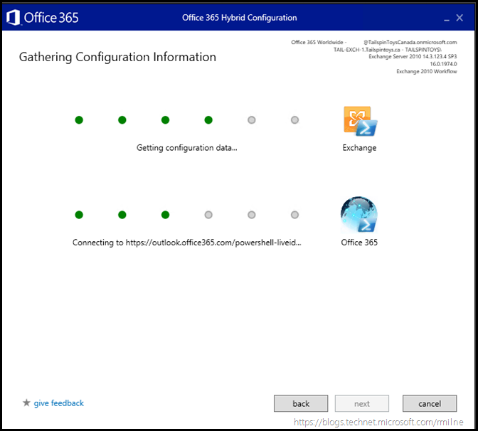 Running Office 365 Hybrid Configuration Wizard - Connect and Verify Credentials