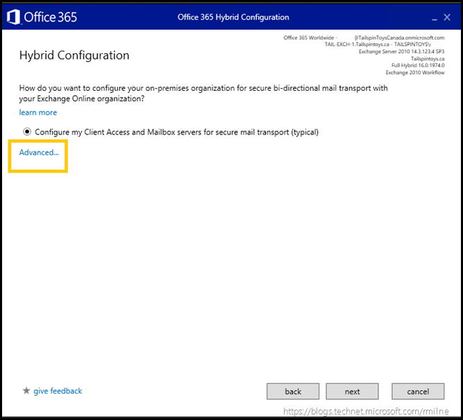 Running Office 365 Hybrid Configuration Wizard - Specify Transport Configuration