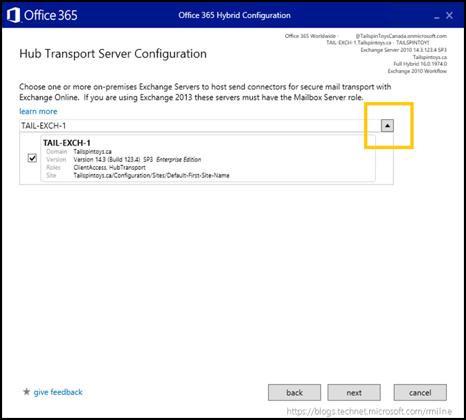 Running Office 365 Hybrid Configuration Wizard - Transport Server Selection