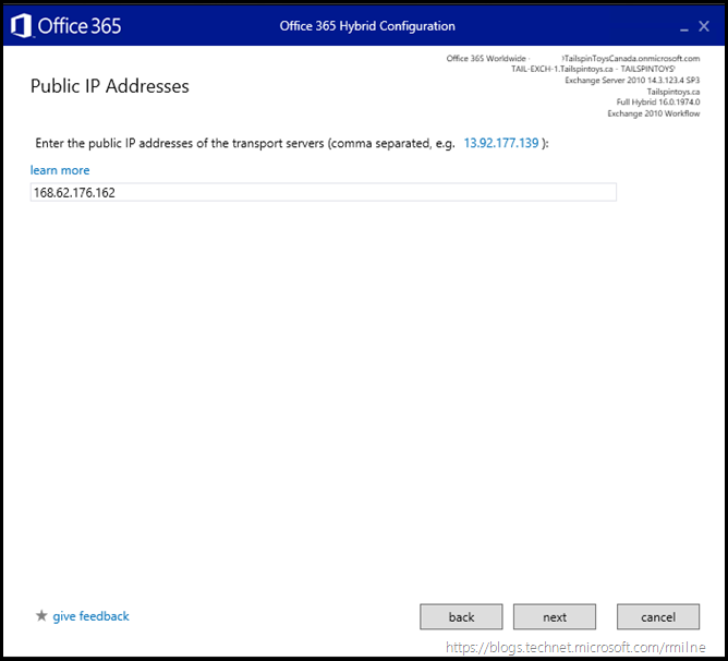 Running Office 365 Hybrid Configuration Wizard - Specify Public IP