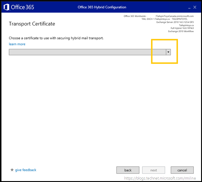 Running Office 365 Hybrid Configuration Wizard - Specify Transport Certificate