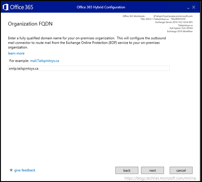 Running Office 365 Hybrid Configuration Wizard - Specify Transport Namespace