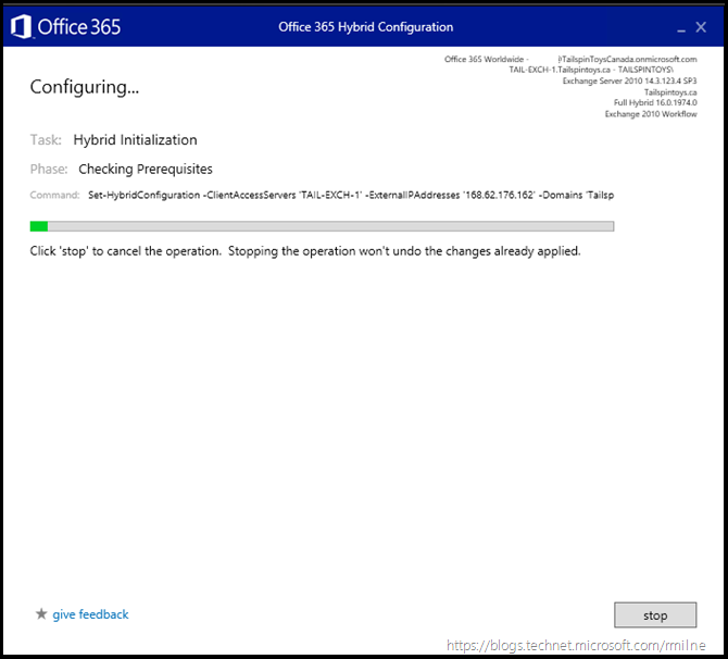 Running Office 365 Hybrid Configuration Wizard - Updating