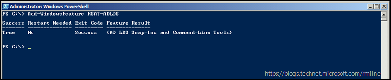 Installing AD LDS RSAT Using PowerShell