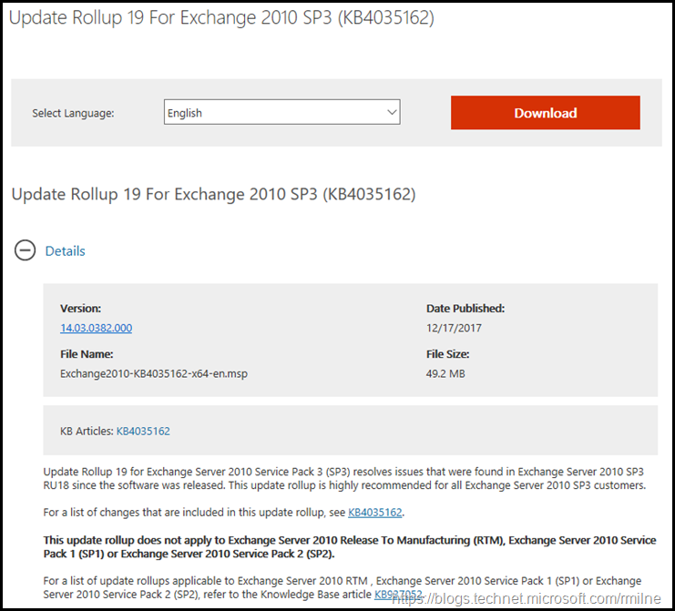 Exchange 2010 SP3 RU19 Download