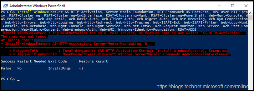 Install-WindowsFeature : ArgumentNotValid: The role, role service, or feature name is not valid: 'AS-HTTP-Activation'