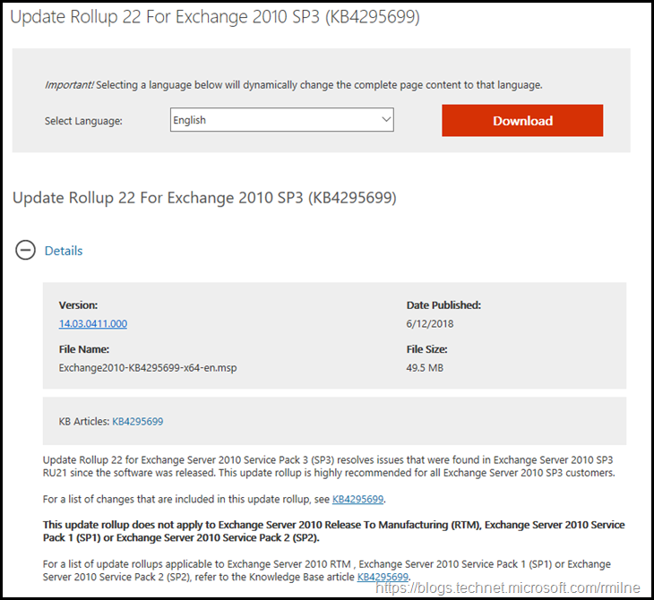 Download Exchange 2010 SP3 RU22