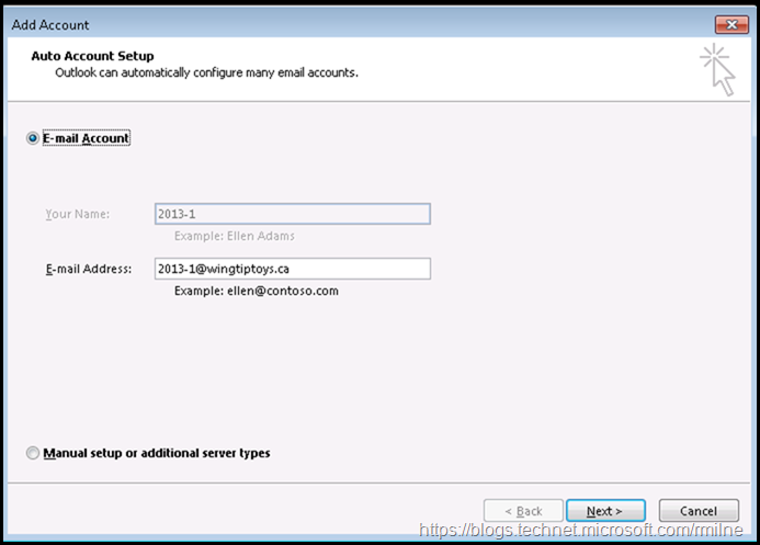 Outlook 2013 Creating Outlook Profile - Auto Account Setup
