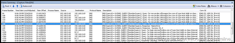 Network Monitor Trace Showing DNS Queries Issued By Outlook