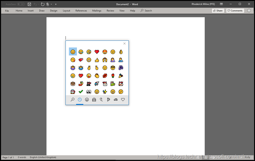 Windows Emoji Shortcut - Word 2016