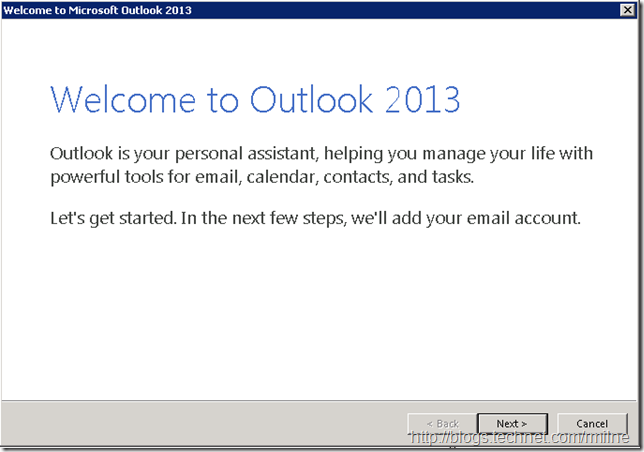 Outlook 2013 Creating Outlook Profile - Welcome