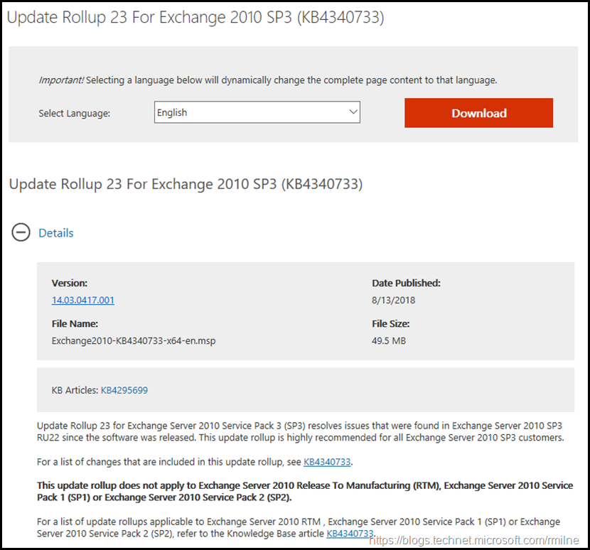 Download Exchange 2010 SP3 RU23