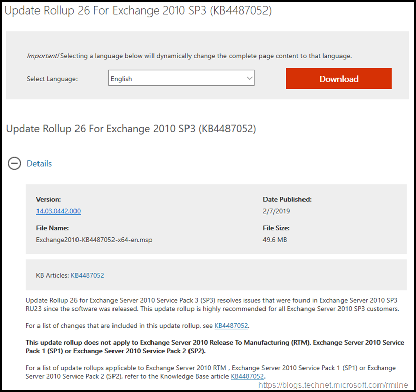 Download Exchange 2010 SP3 RU26
