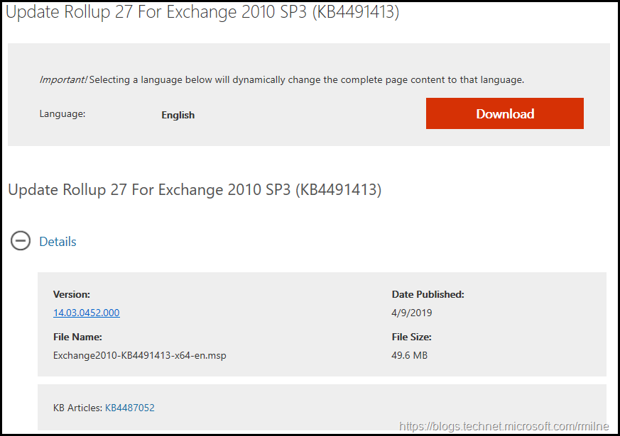 Download Exchange 2010 SP3 RU27