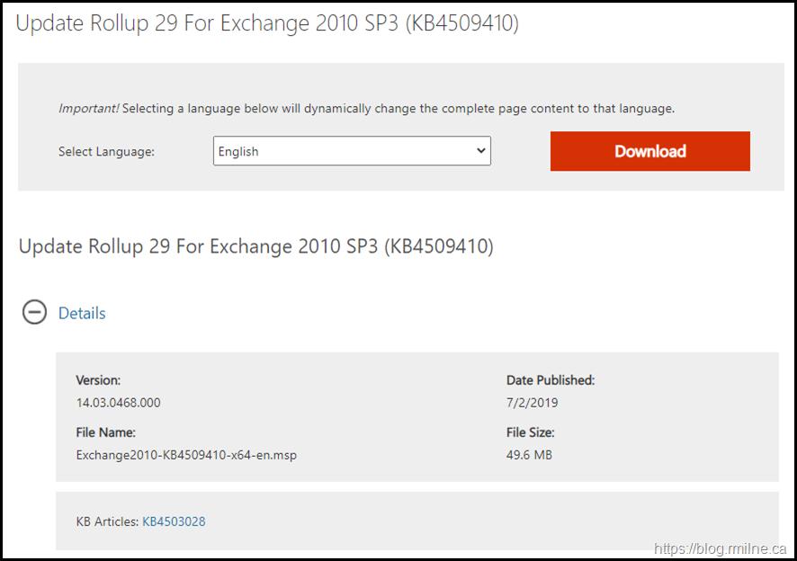 Download Exchange 2010 SP3 RU29
