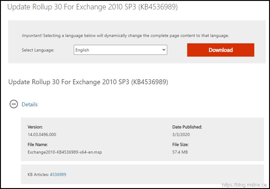 Download Exchange 2010 SP3 RU30