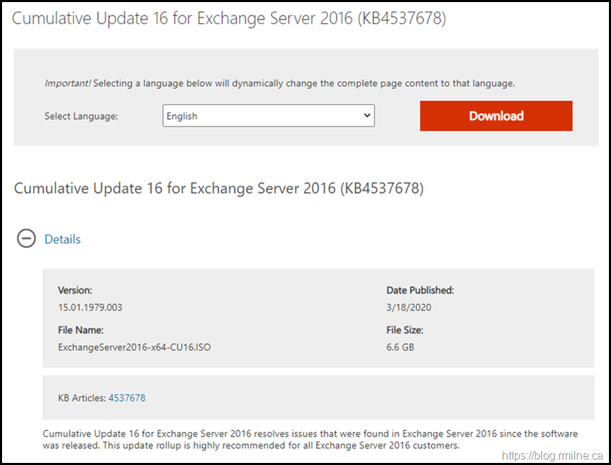Exchange 2016 CU16 Download