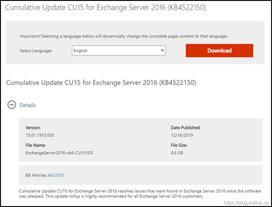 Download Exchange 2016 CU15