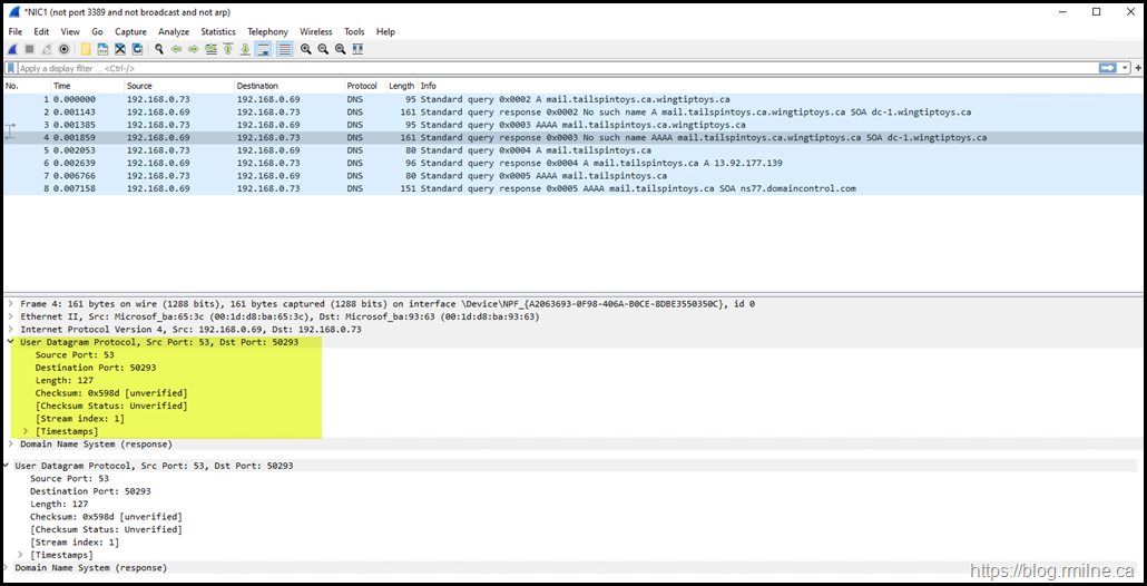 Wireshark Used To Show UDP DNS Query
