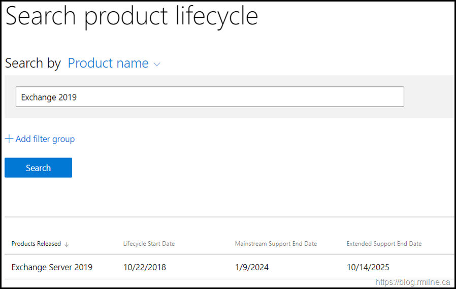 Exchange 2019 End of Support Date