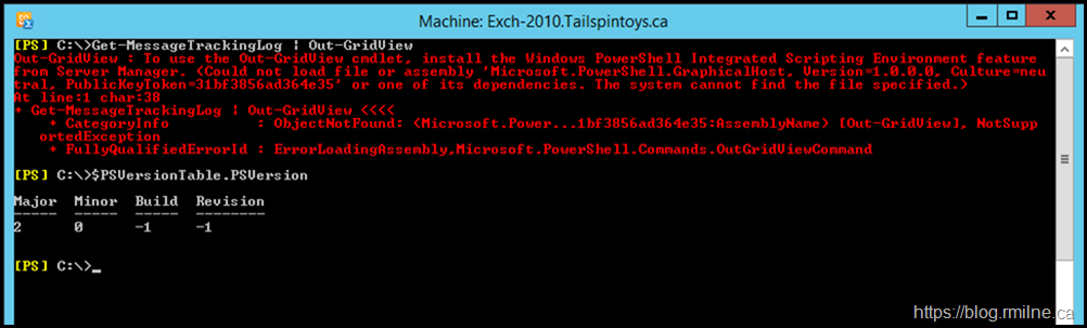 Exchange 2010 Management Shell - PowerShell 4