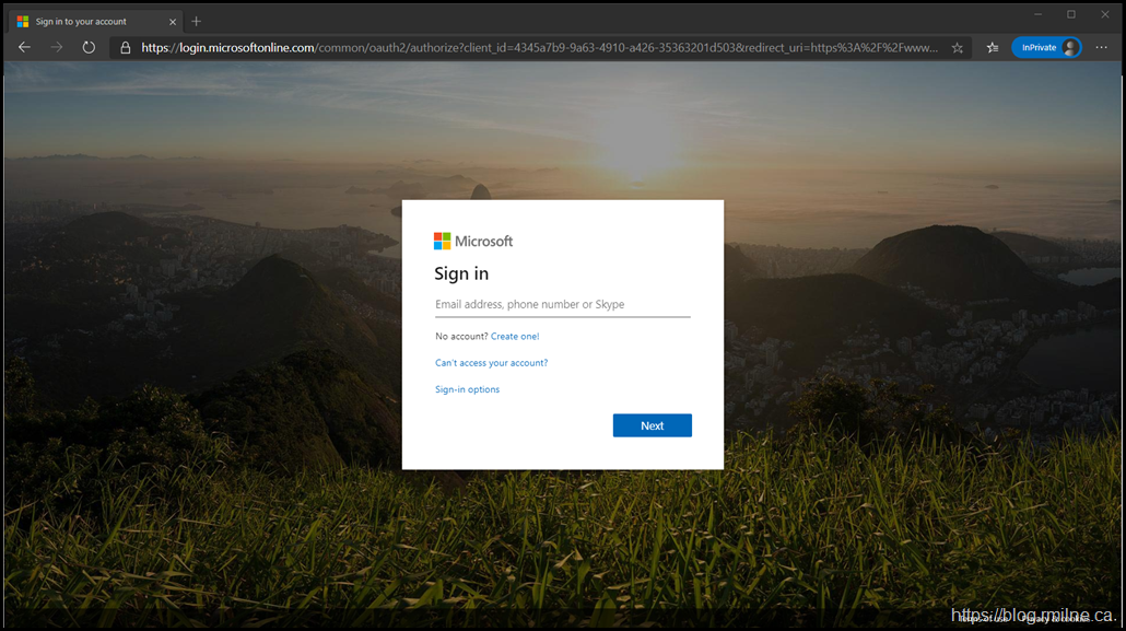 Office 365 Logon Page - Circa 2019