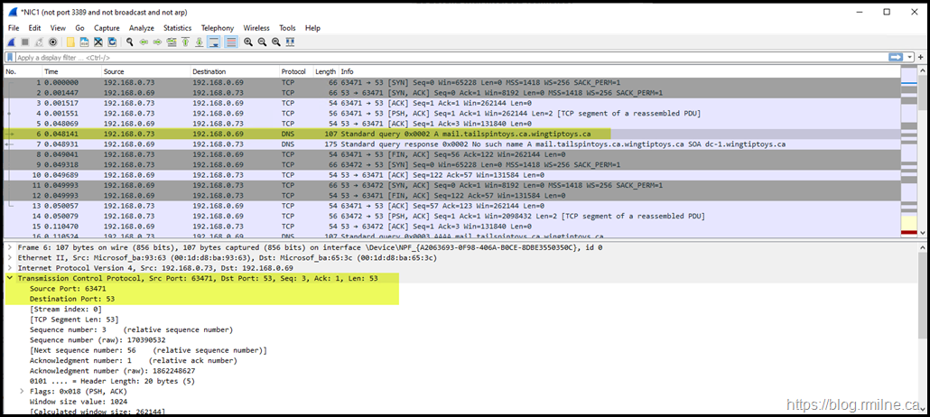Wireshark Details Showing TCP For Nslookup Query
