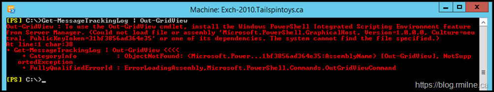 Exchange 2010 Management Shell With Our-GridView Error