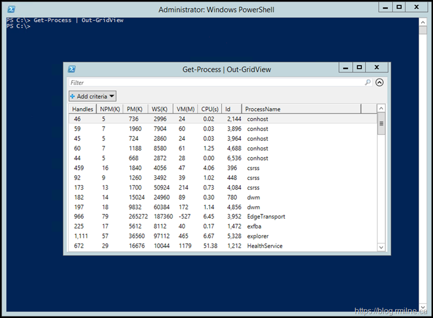 Windows PowerShell - Out-GridView Is Available