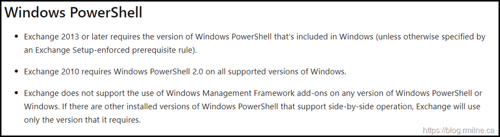 Exchange 2010 PowerShell Support Policy
