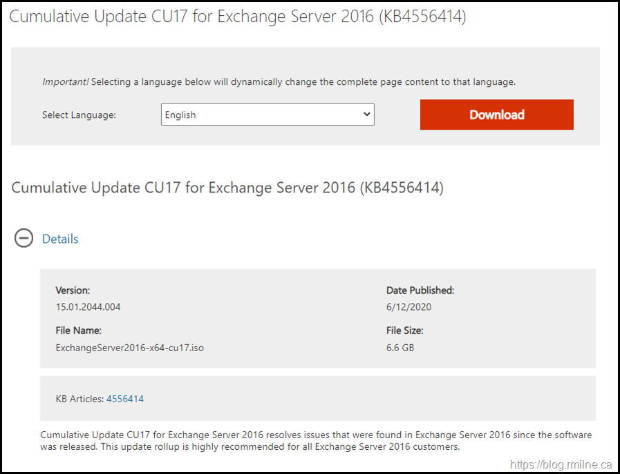 Download Exchange 2016 CU17