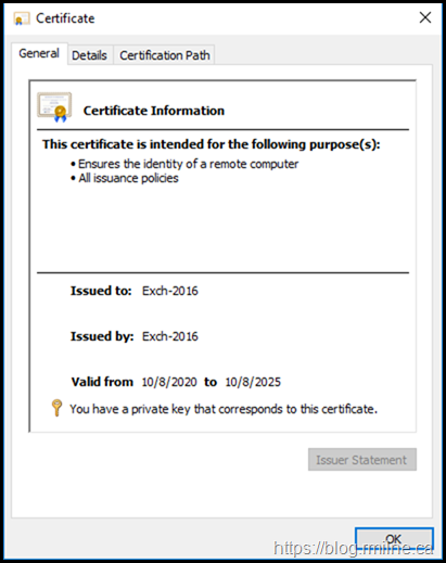 Exchange Default Self Signed Certificate - General Tab