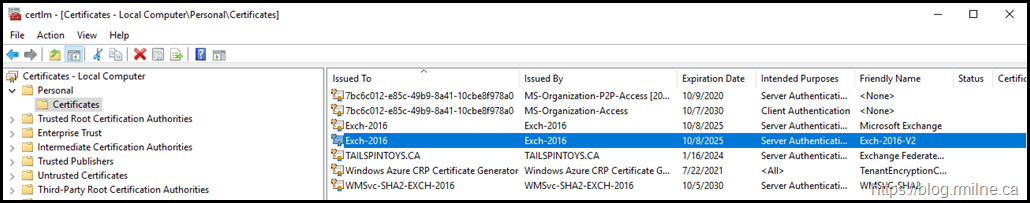 Post Install Certificate Exch-2016-V2 Is Visible In Certificate MMC