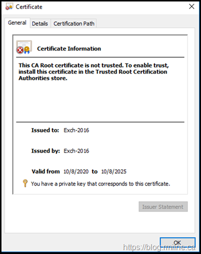 Post Install Certificate Exch-2016-V2 Is Not Trusted