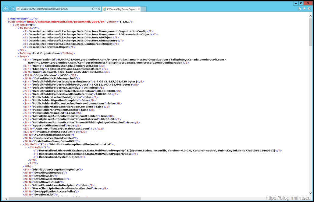 For Reference - The Tenant Organisation Config XML File