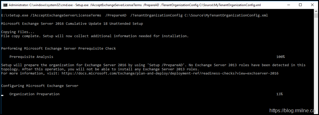 PrepareAD Running Setup With the Previously Downloaded Tenant Config File