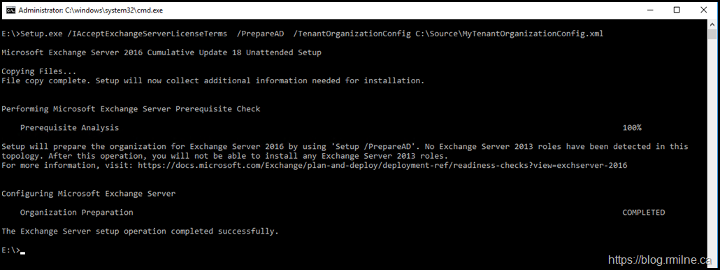 PrepareAD Setup Completed With the Previously Downloaded Tenant Config File I