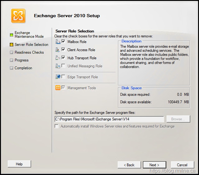 Exchange 2020 GUI Uninstall Screen