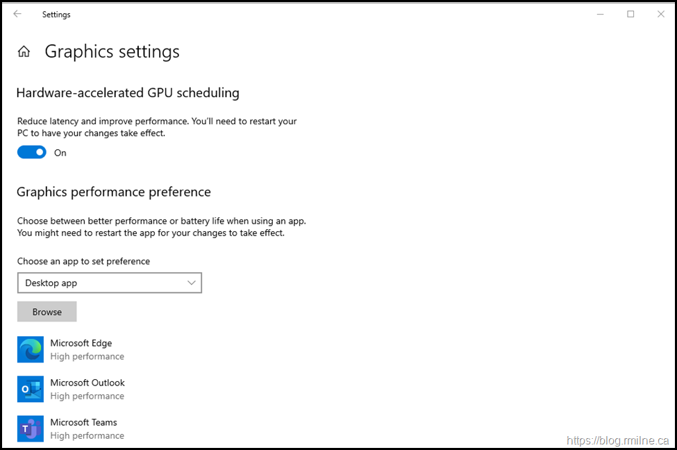 Windows Hardware Accelerated GPU Scheduling - Teams & Edge Added