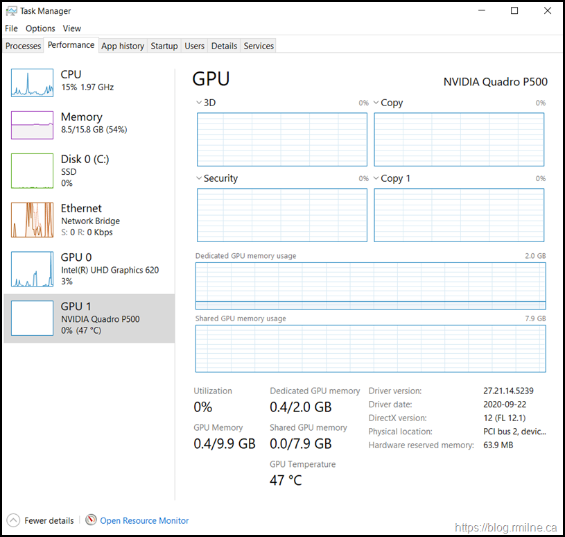 Windows 10 Task Manager Showing GPU Usage